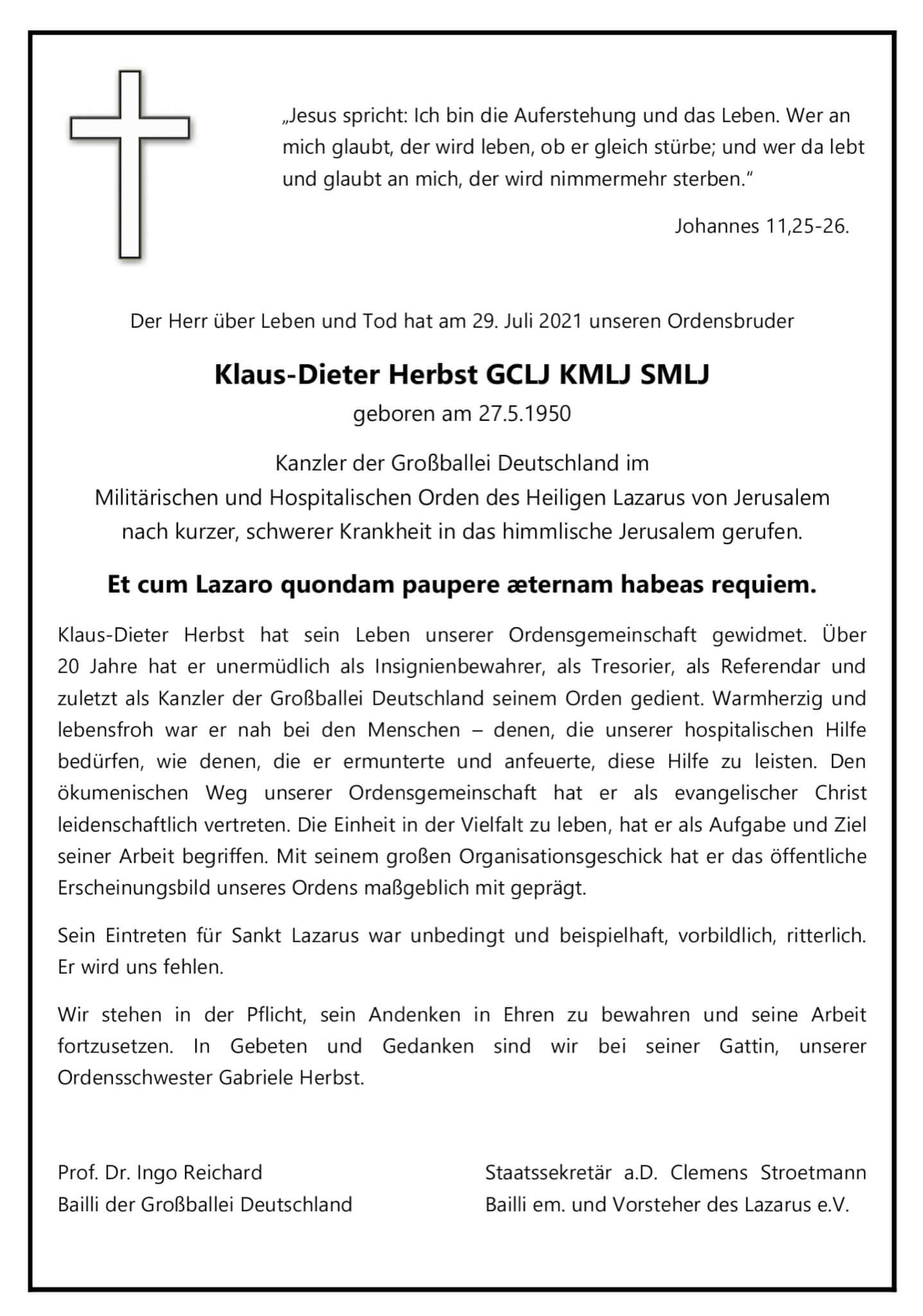 Zum Tod von Klaus Dieter Herbst, GCLJ KMLJ SMLJ   Humanitäres ...